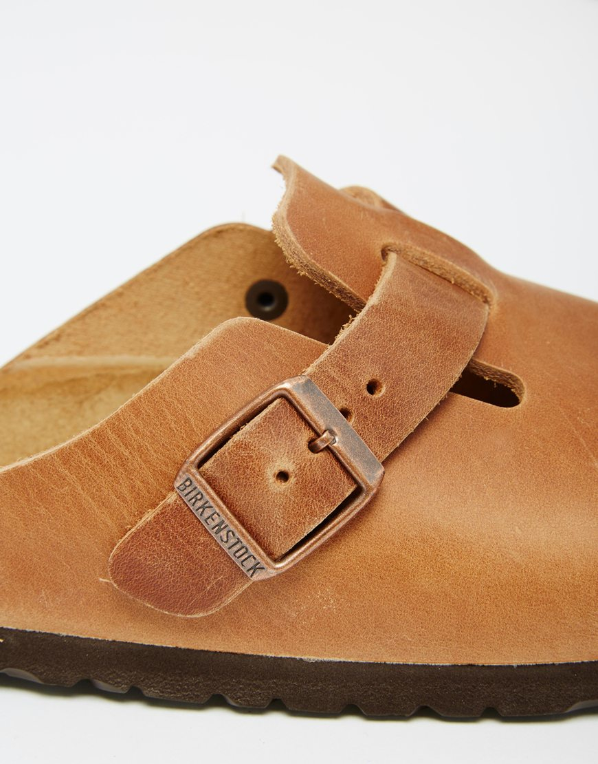 87f36cb16413a Birkenstock Boston Natural Leather Clog Flat Shoes in Brown - Lyst