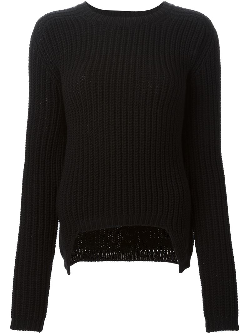 Rick owens Chunky Knit Sweater in Black | Lyst
