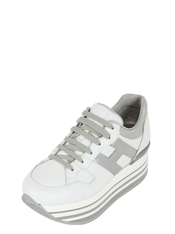 Hogan 70mm Leather Platform Sneakers in