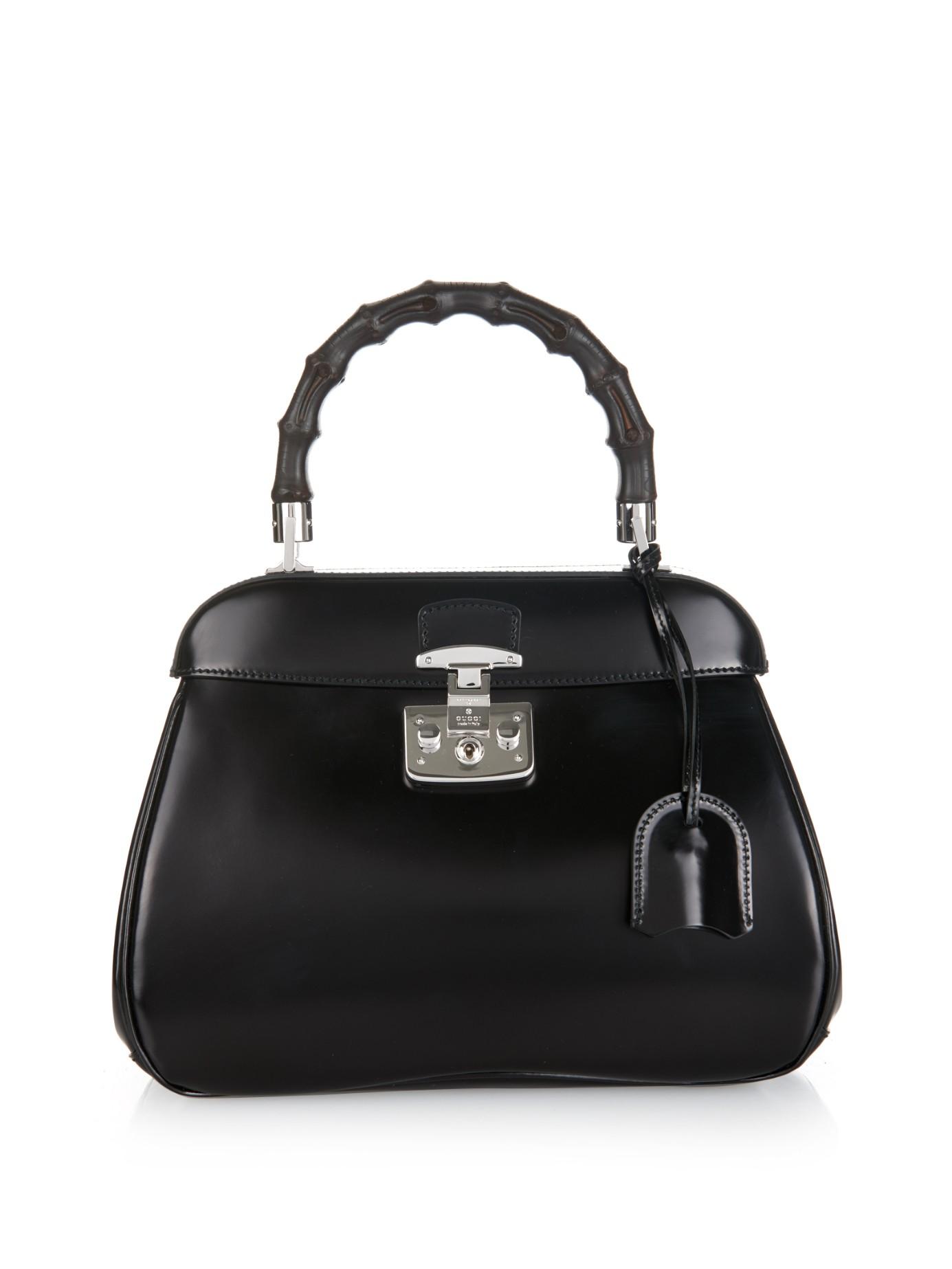 a68dd71e0fd Lyst - Gucci Lady Lock Medium Leather Bag in Black