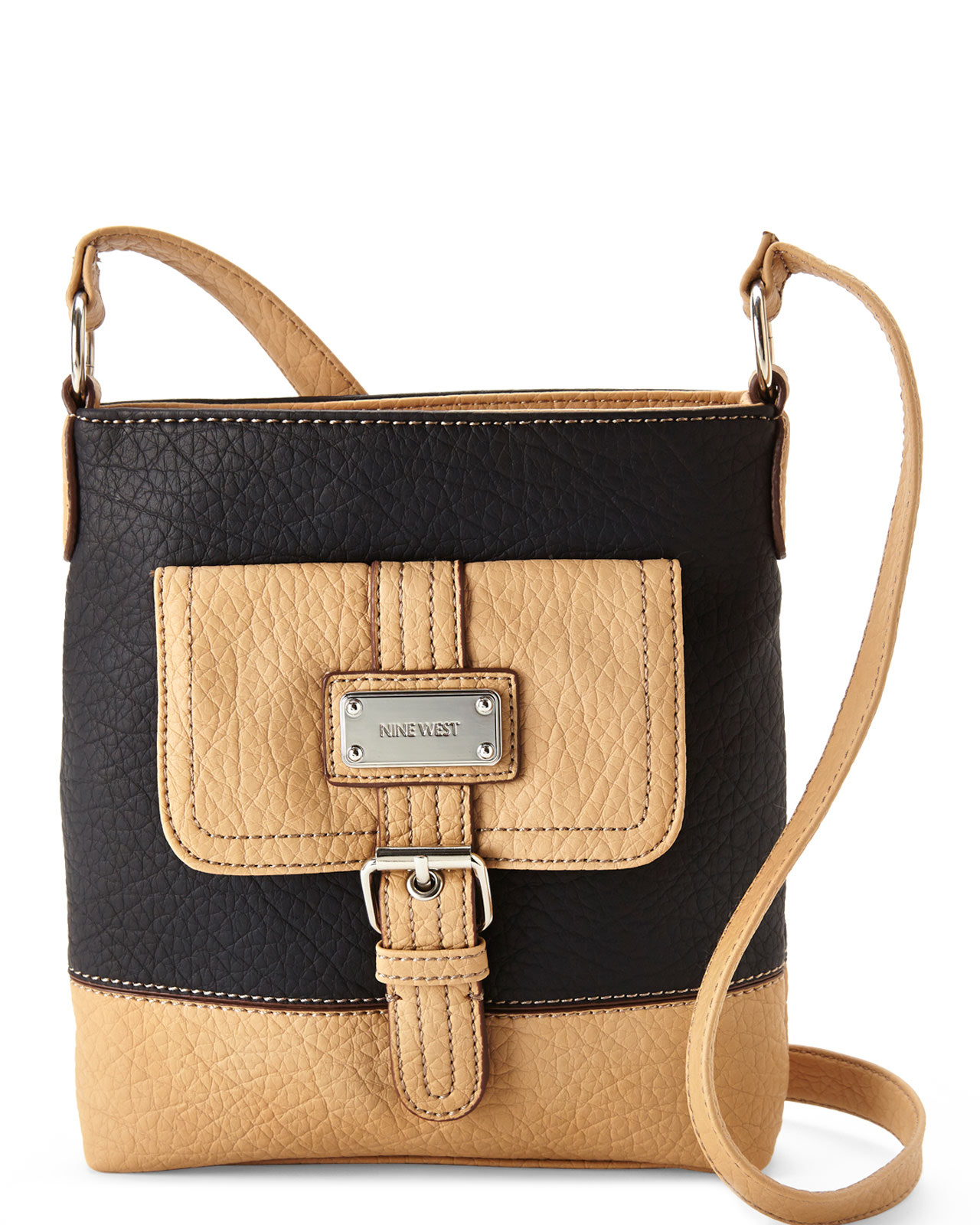 Lyst Nine West Black Amp Beige Rocky Crossbody In Natural