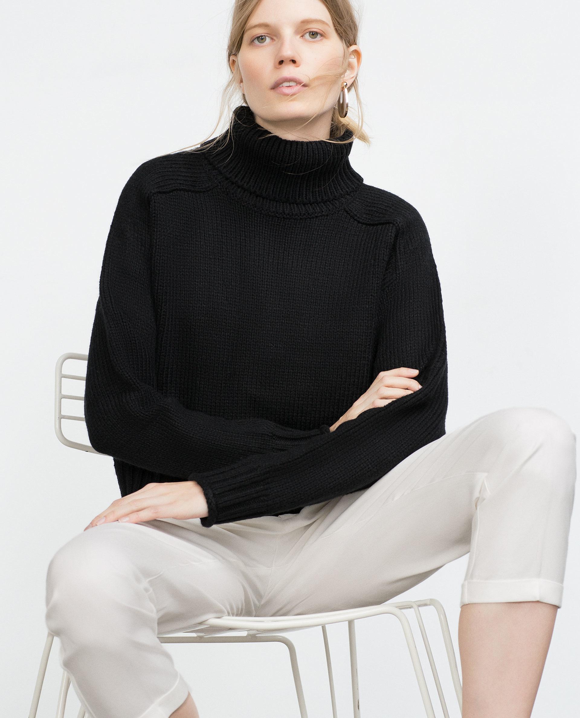Zara Black High Neck Sweater 100