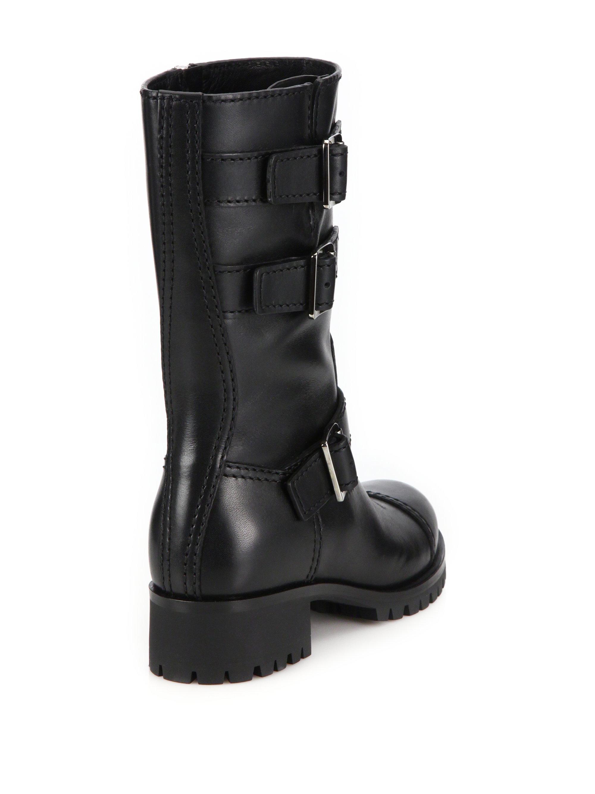1c8e7baf71f Prada Black Three-buckle Lug Sole Boots