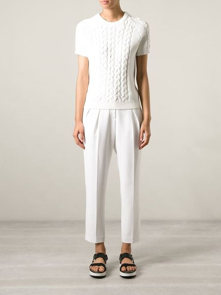joseph short sleeve cable knit sweater in white lyst