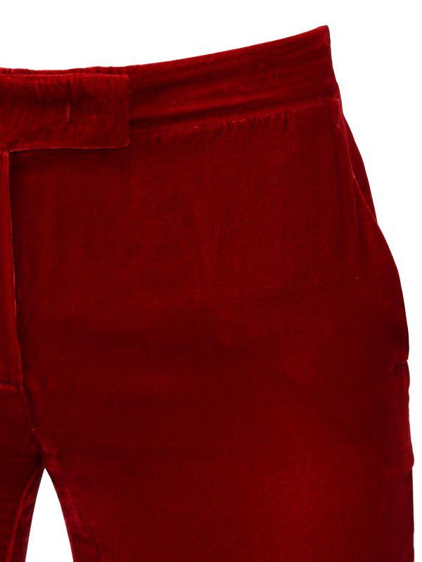Emilio Pucci Viscose & Silk Blend Velvet Pants in Red