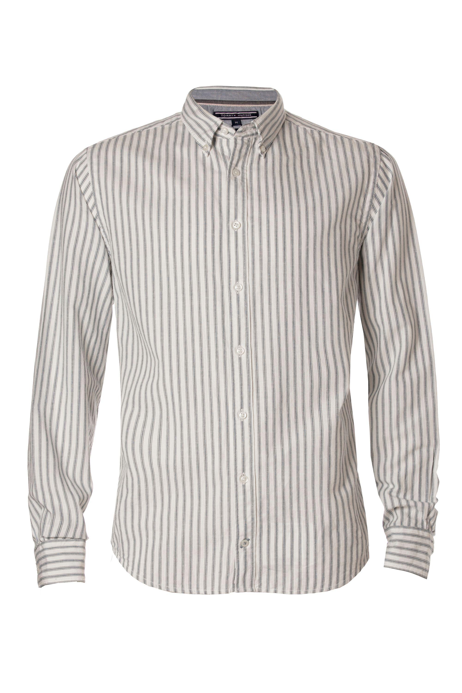 Tommy hilfiger adel stripe shirt in natural for men lyst for Tommy hilfiger fitzgerald striped shirt