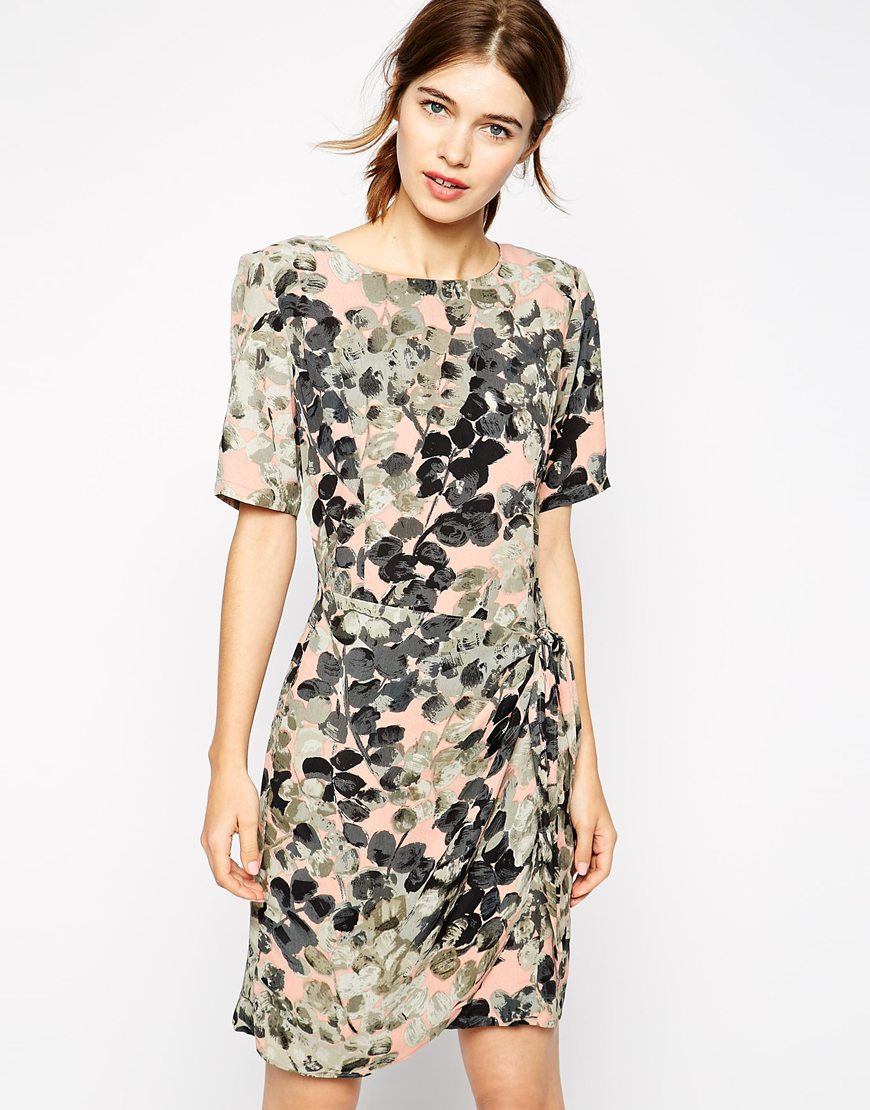 Ganni Wrap Dress In Floral Print In Green Lyst