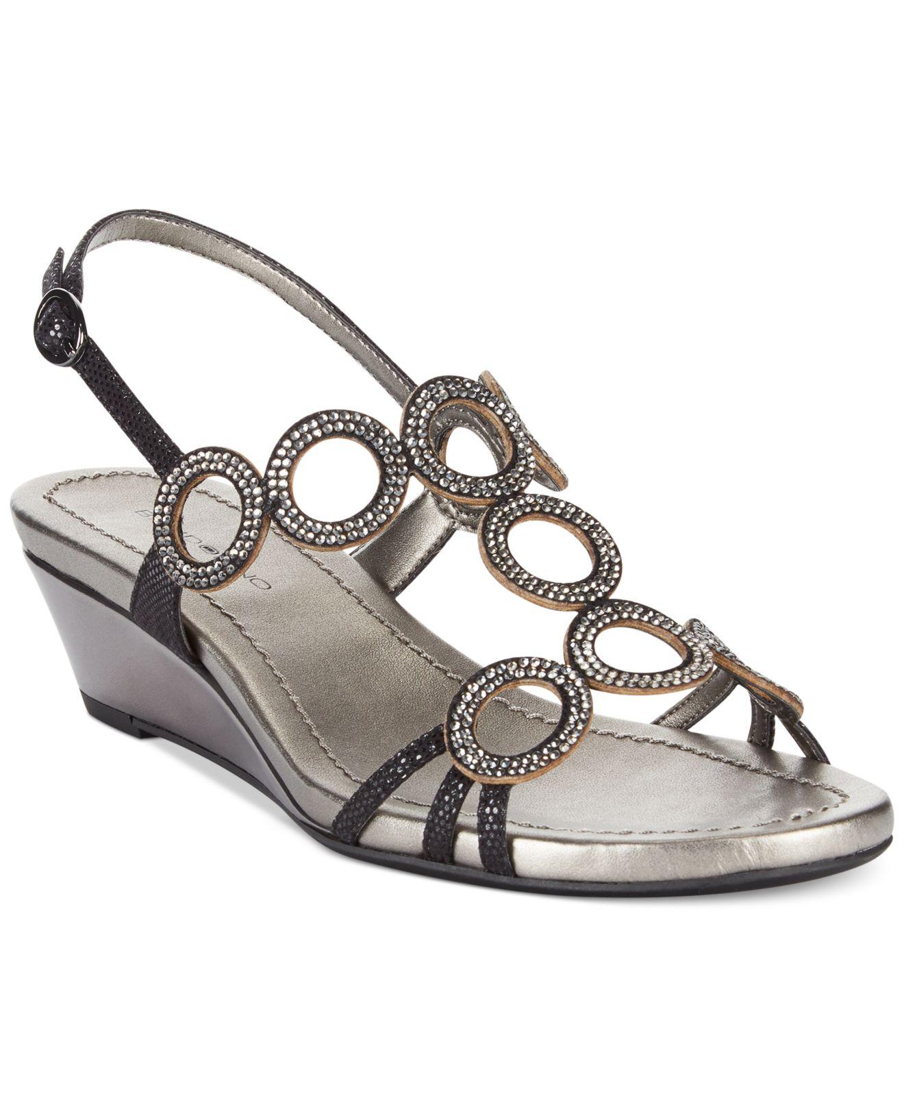 592fe08c2 Lyst - Bandolino Gia Evening Wedge Sandals in Black