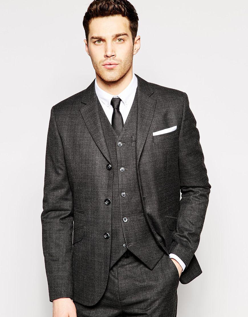 Asos Slim Fit Suit Jacket In Tartan Check - Grey in Gray for Men