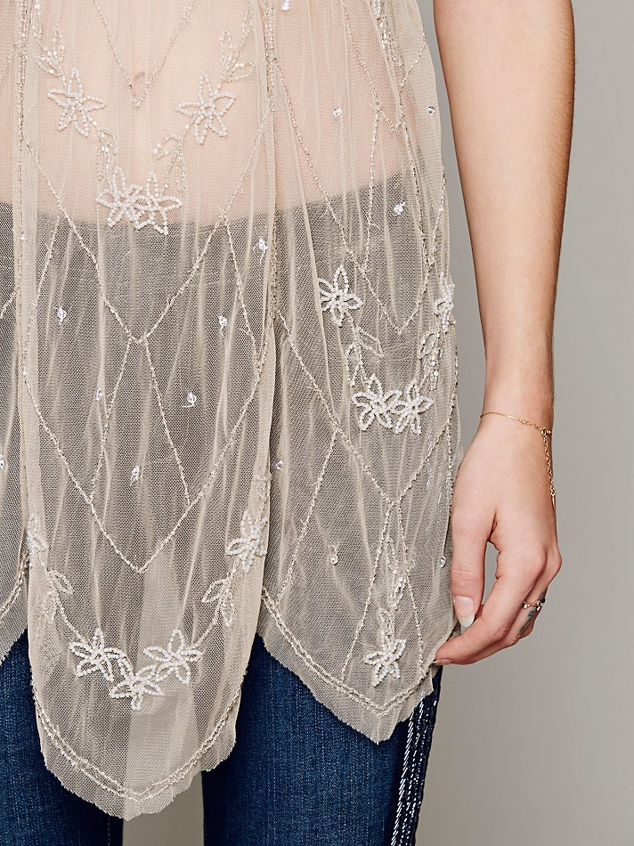 678883ed1ba Free People Embellished Flutter Sleeve Sheer Tunic in Natural - Lyst