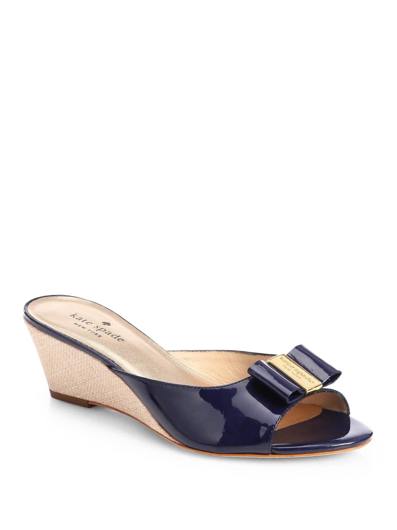 e6949f67437 kate spade new york Blue Dixie Patent Leather Wedge Slides