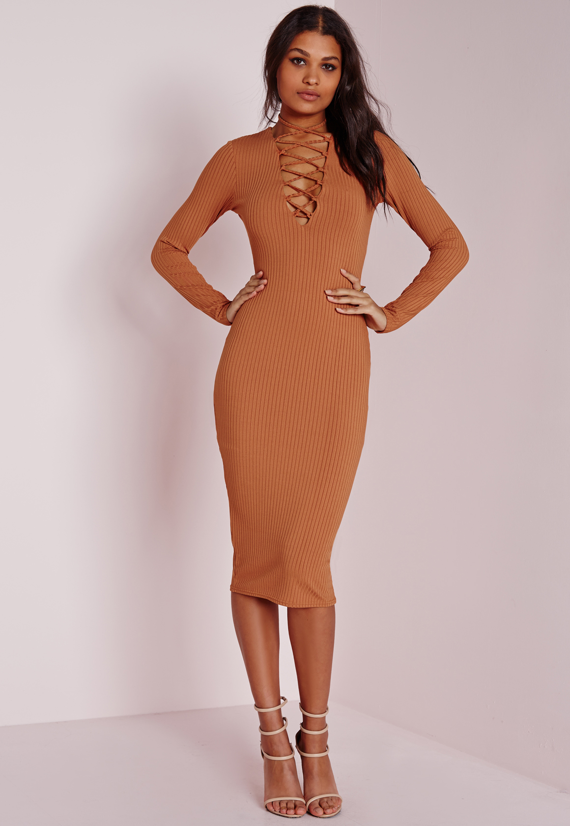 missguided ribbed long sleeve lace up midi dress tan in