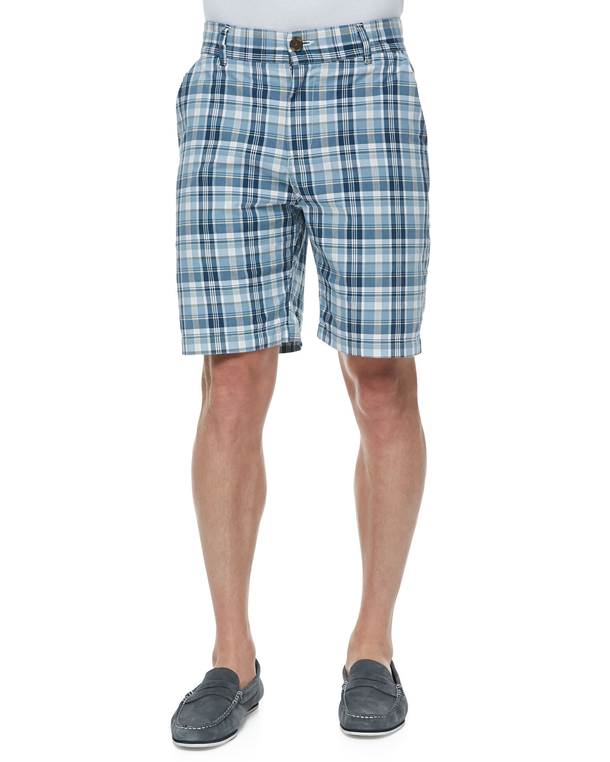 W R K Gibson Plaid Shorts In Blue For Men Natural Lyst