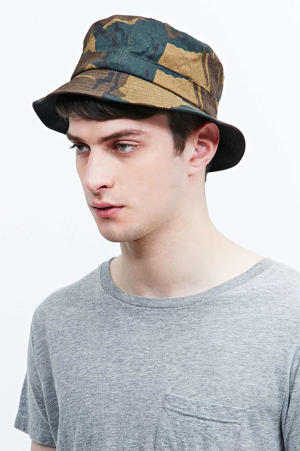 afeeb6cf Fred Perry Reversible Bucket Hat In Camo in Gray for Men - Lyst