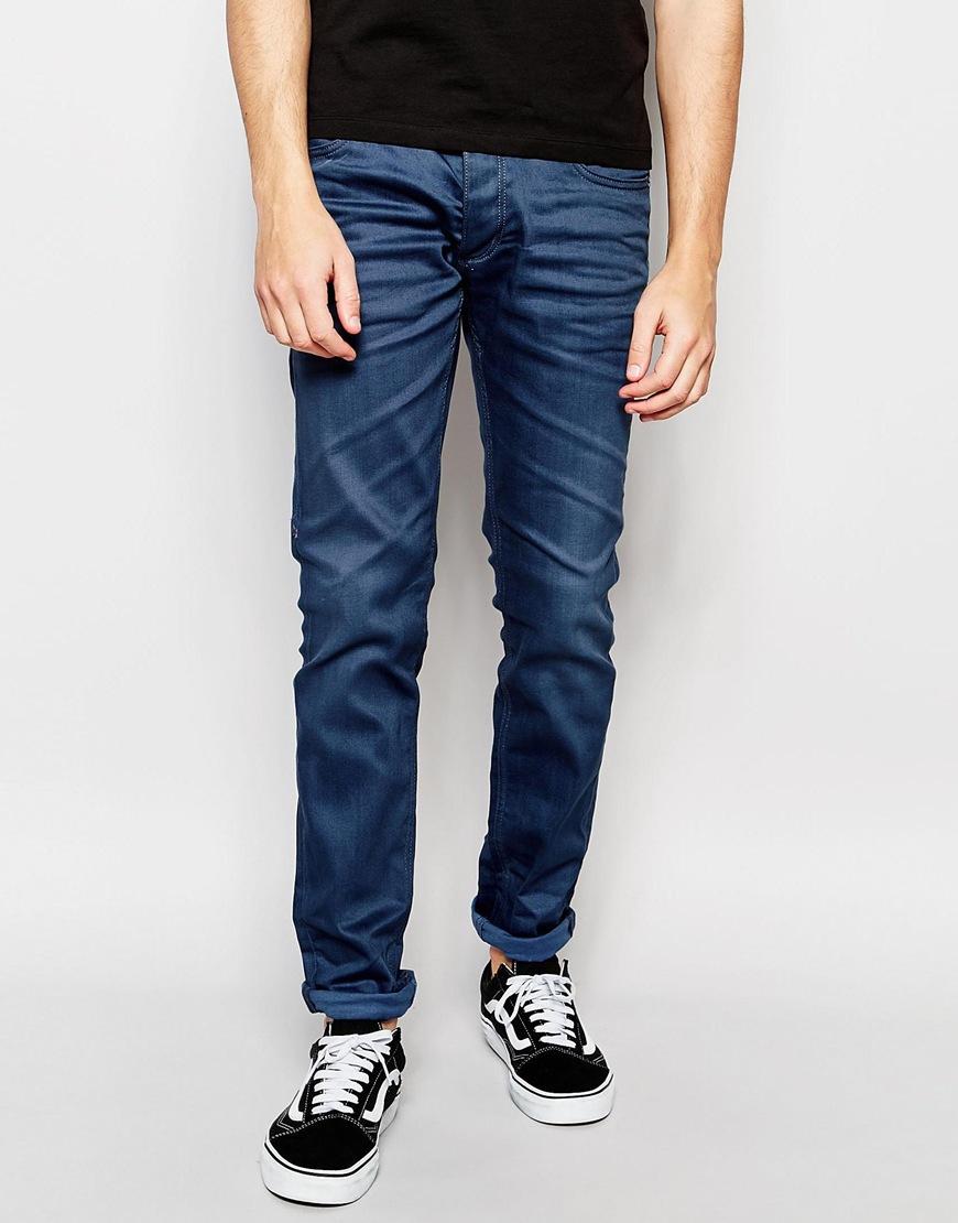 jack jones blue jeans in slim fit with stretch in blue for men. Black Bedroom Furniture Sets. Home Design Ideas