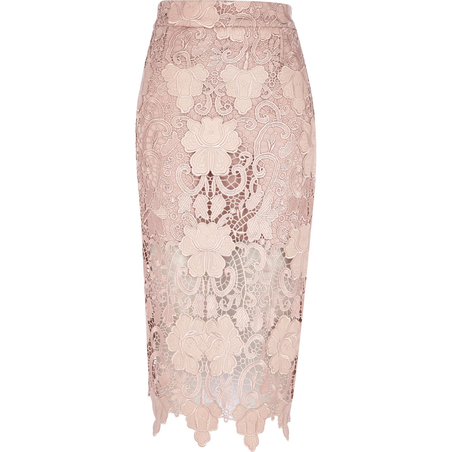Pink Lace Pencil Skirt River Island