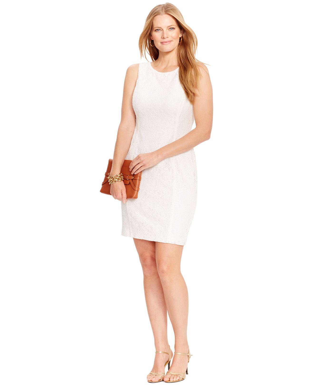 Lauren by Ralph Lauren White Plus Size Sleeveless Lace Dress