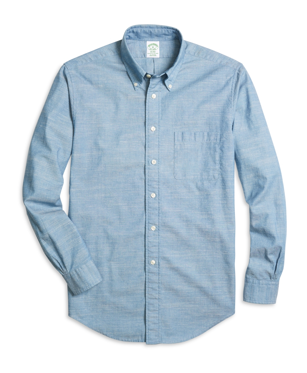 Lyst brooks brothers milano fit chambray sport shirt in for Brooks brothers sports shirts