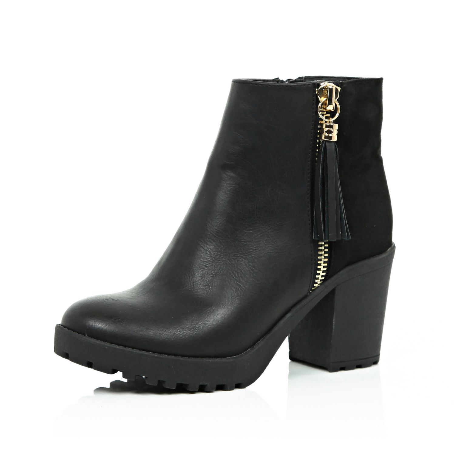 good texture crazy price innovative design Black Chunky Ankle Boots