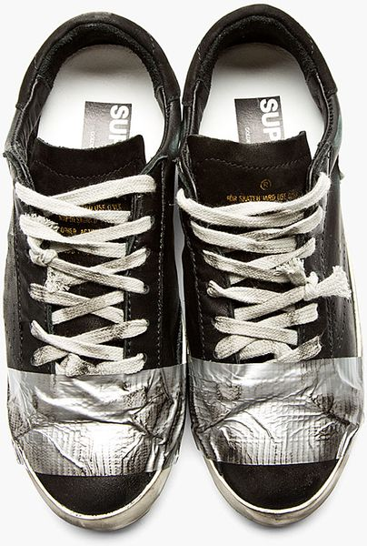 Golden Goose Deluxe Brand Black Duct Tape Distressed