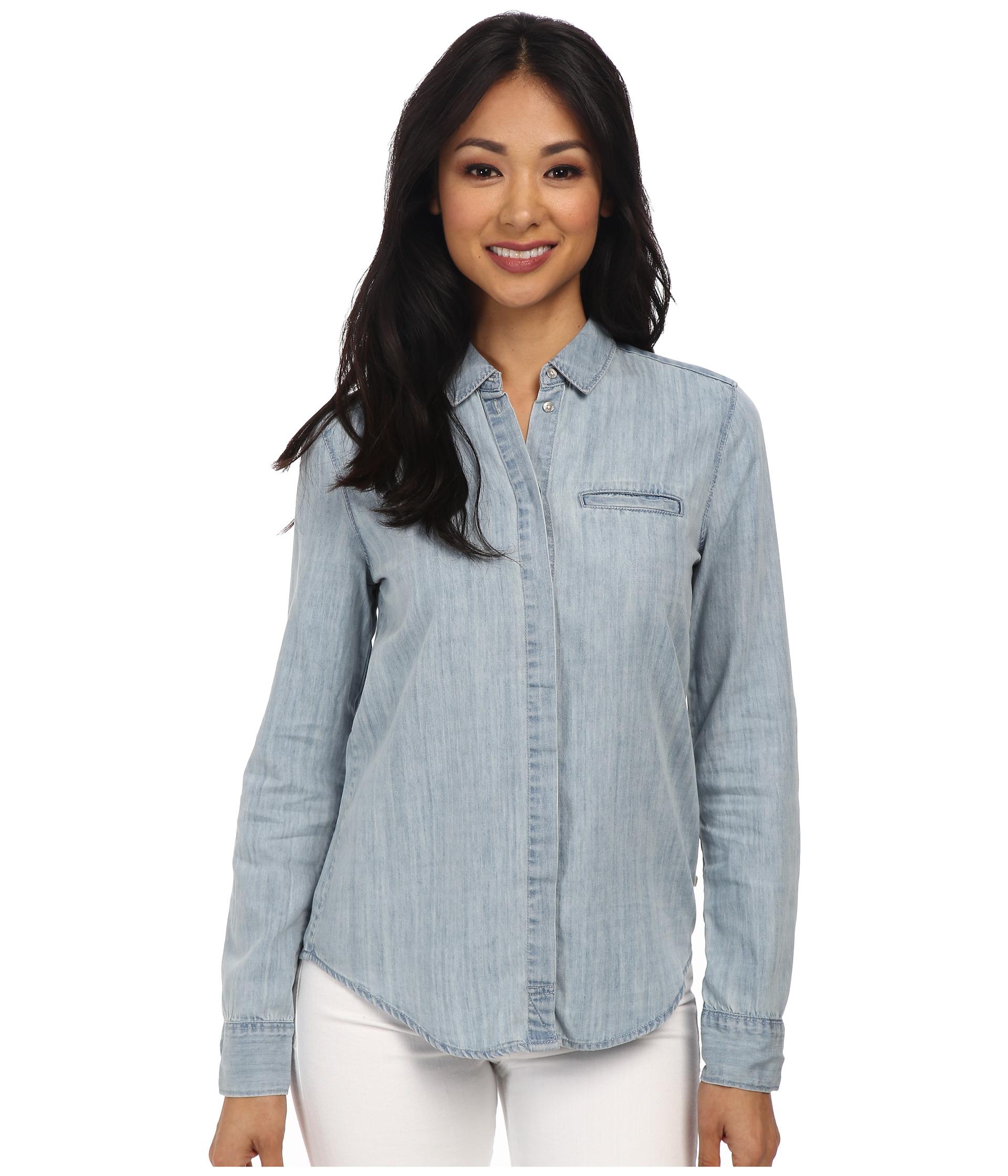 Calvin klein jeans denim button down shirt in blue light for Denim button down shirts