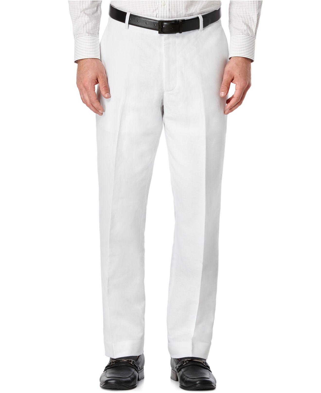 Perry Ellis Linen Suit Pants In White For Men Bright
