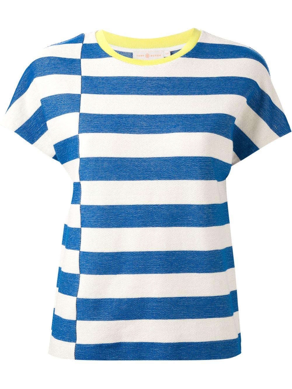 Tory burch striped t shirt in blue lyst for Tory burch t shirt
