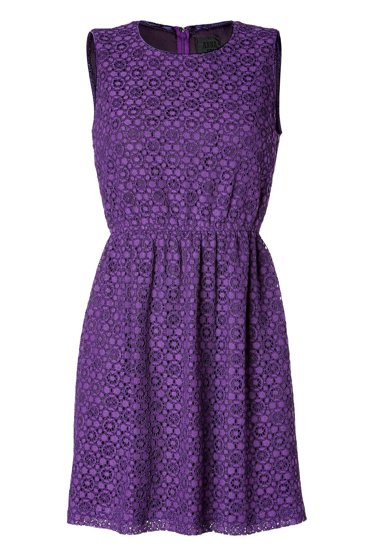 Anna Sui Eyelet Dress In Indigo Purple In Purple Indigo