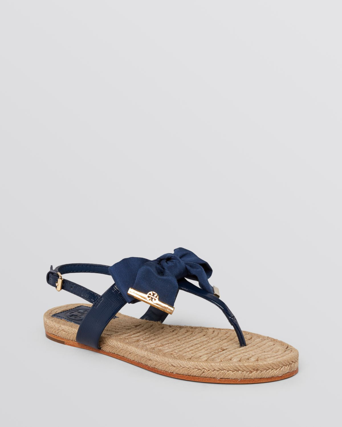 8537e504e Tory Burch Flat Thong Sandals Penny Bow in Blue - Lyst