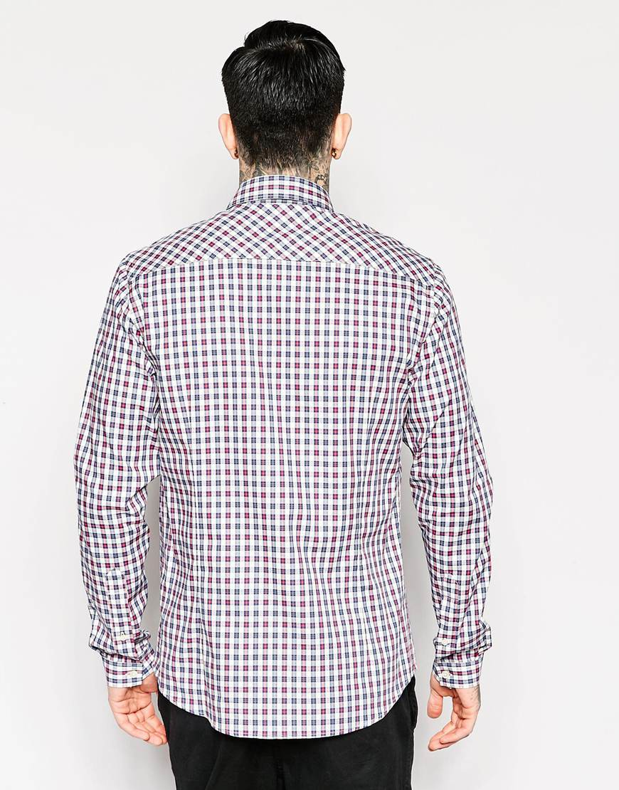 Pretty green check shirt in red and blue slim fit in for Red and green checked shirt