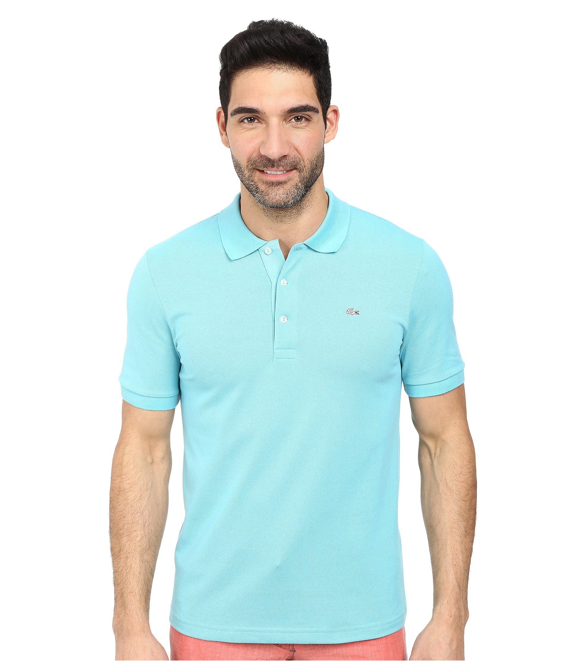 380f7c792a Lacoste Blue Premium Short Sleeve Slim Fit Stretch Pique Polo Shirt for men