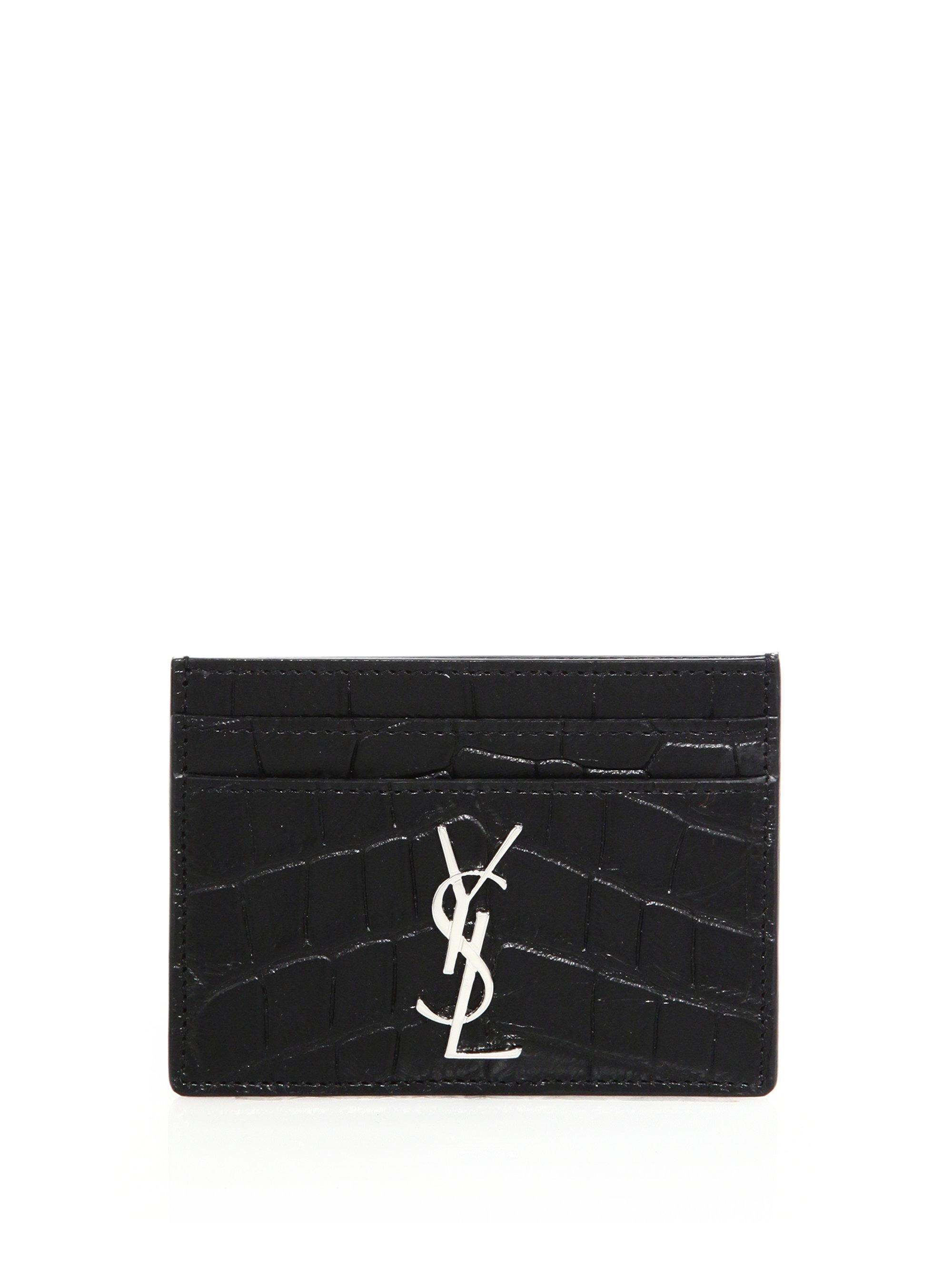 Lyst - Saint Laurent Monogram Crocodile-embossed Leather Card Case in Black