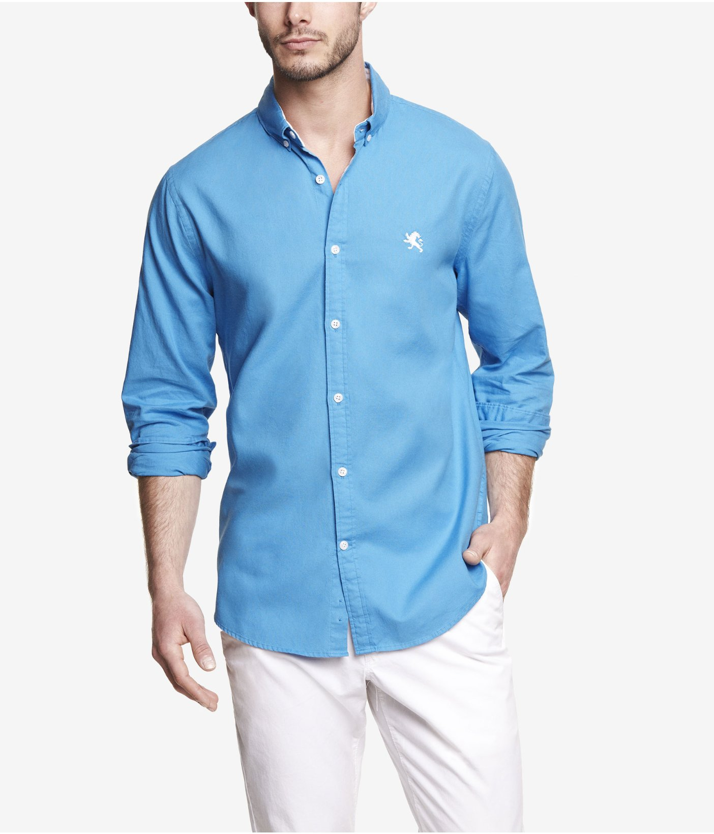 Lyst express fitted oxford shirt in blue for men for Mens blue oxford shirt