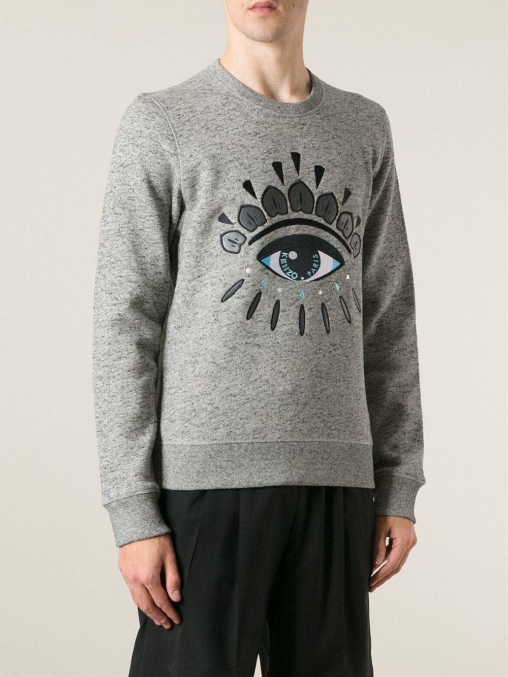 7765de9b6 KENZO Eye Cotton Sweatshirt in Gray for Men - Lyst