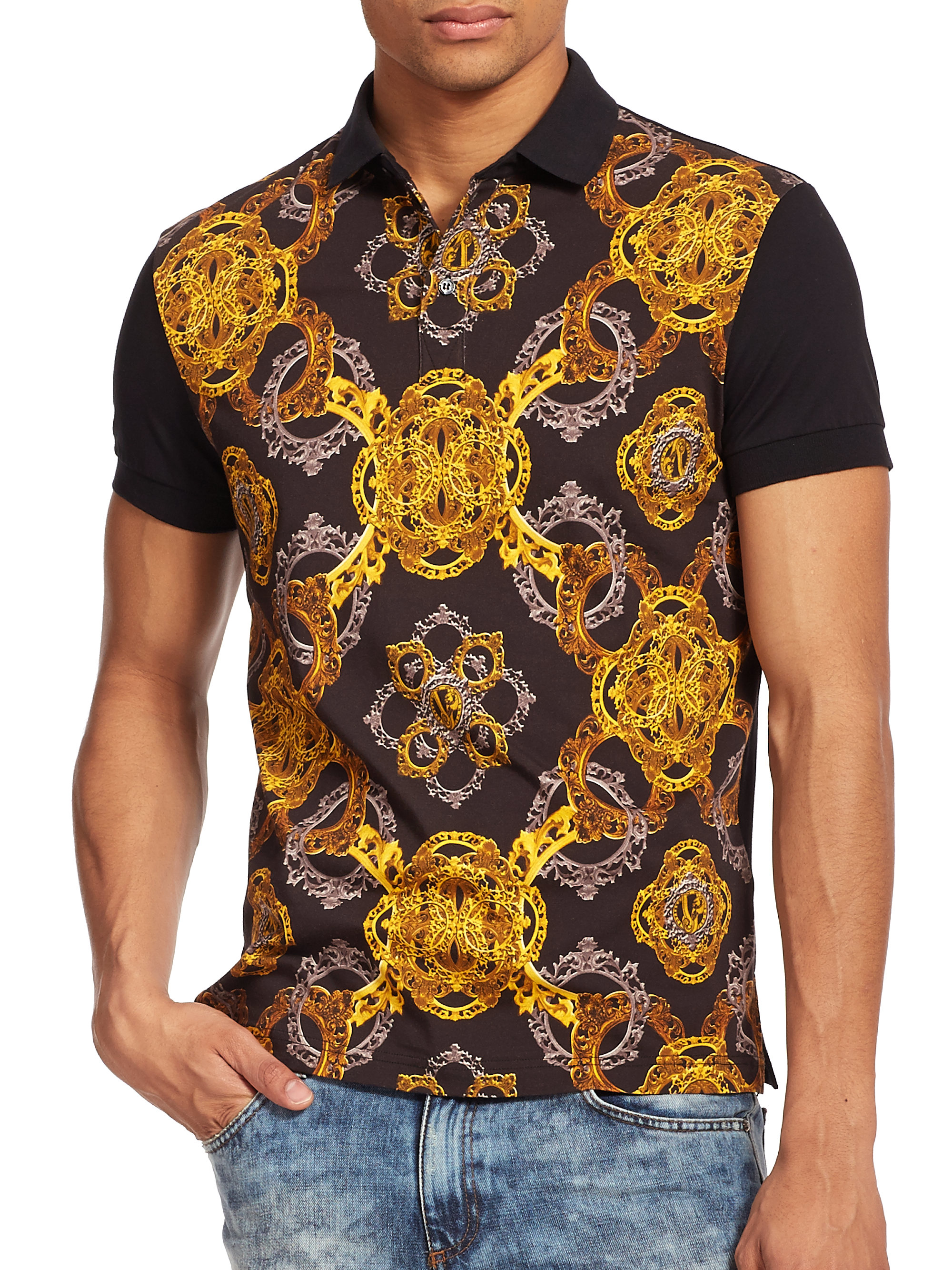 f1b9a30d3 Versace Jeans Baroque Print Jersey Polo in Black for Men - Lyst