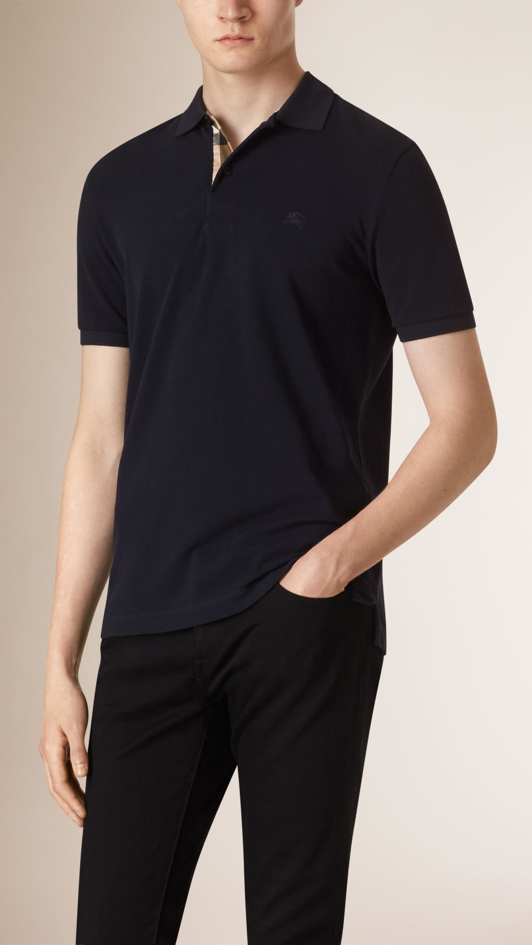 Burberry check detail cotton polo shirt in black for men for Black cotton polo shirt