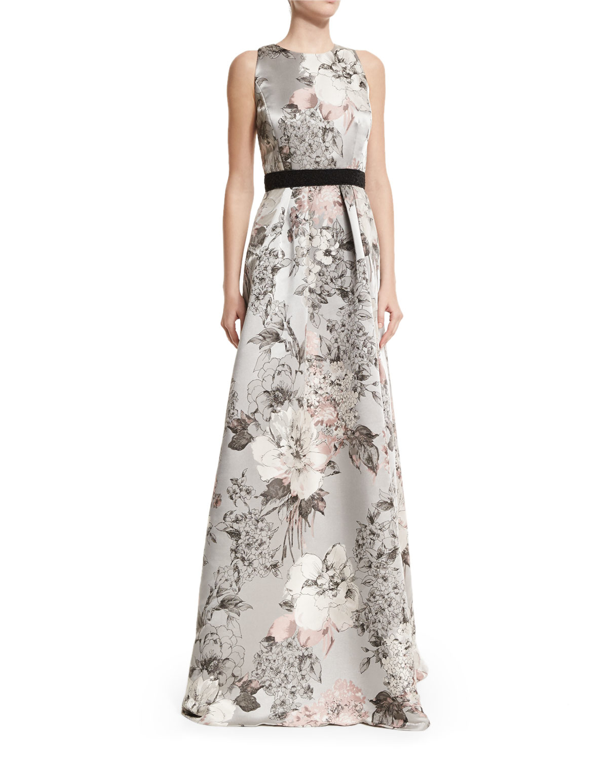d46bfc146cee Carmen Marc Valvo Sleeveless Floral-print Gown in Natural - Lyst