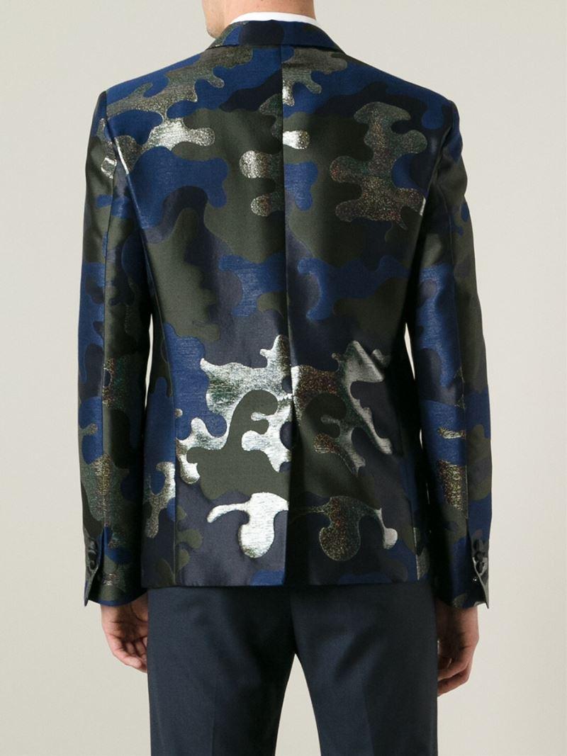 DSquared² Camouflage Jacquard Blazer in Blue for Men