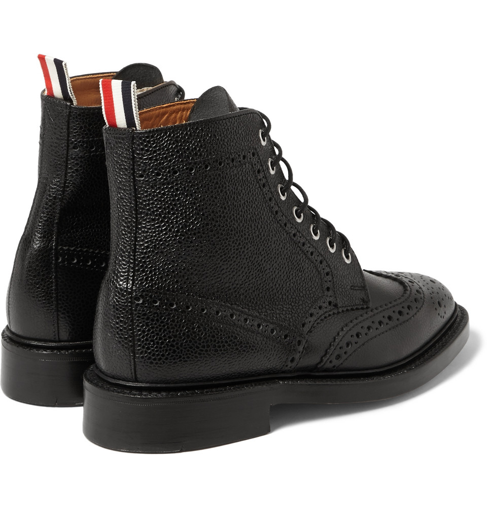 thom browne pebbled leather brogue boots in black lyst