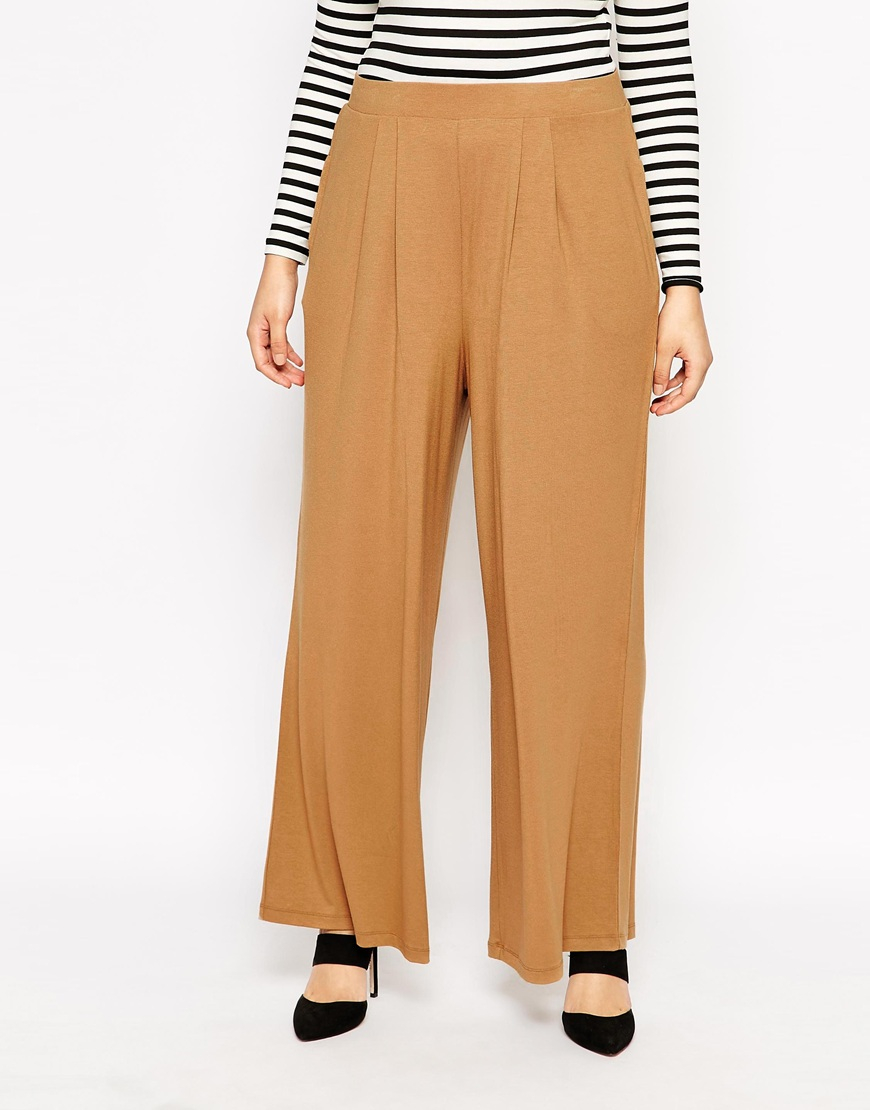 Asos Trouser With Wide Leg In Camel In Brown Lyst