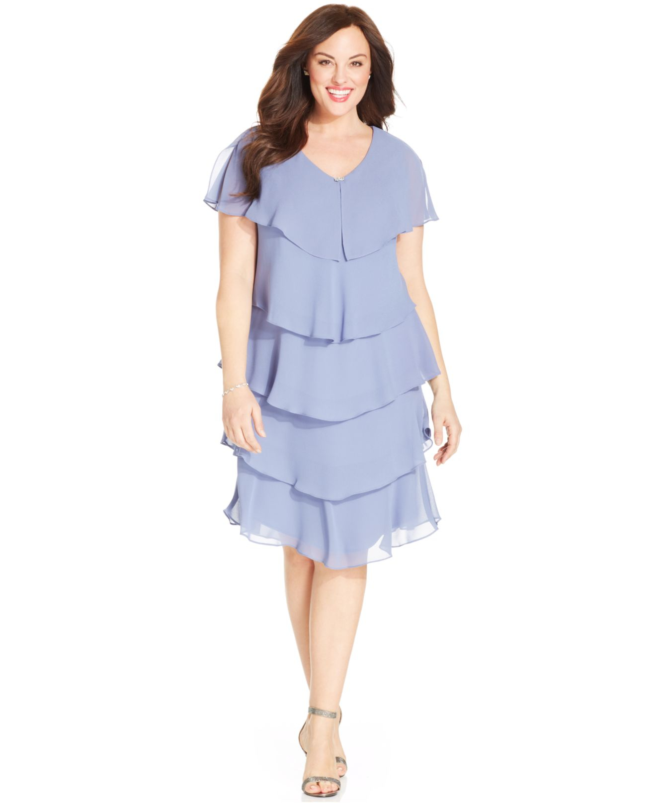 Patra Blue Plus Size Short-sleeve Tiered Dress