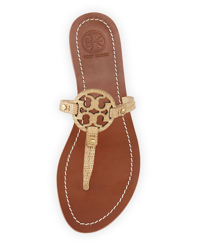 68056be89bd Lyst - Tory Burch Mini Miller Snake-Embossed Flat Sandal in Metallic
