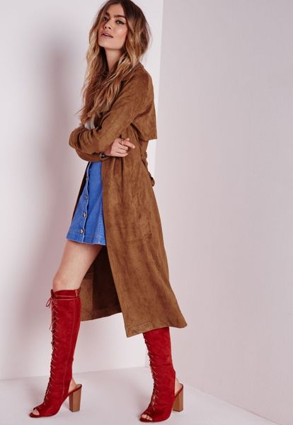 Missguided Faux Suede Trench Coat Tan In Brown Tan Lyst