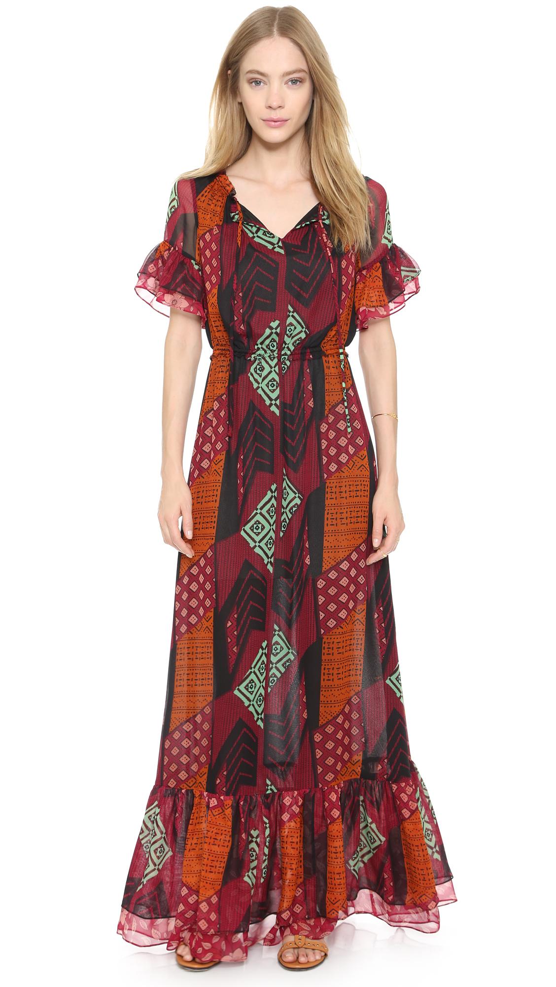 Diane von furstenberg Jane Maxi Dress - Ethnic Collage in Orange ...
