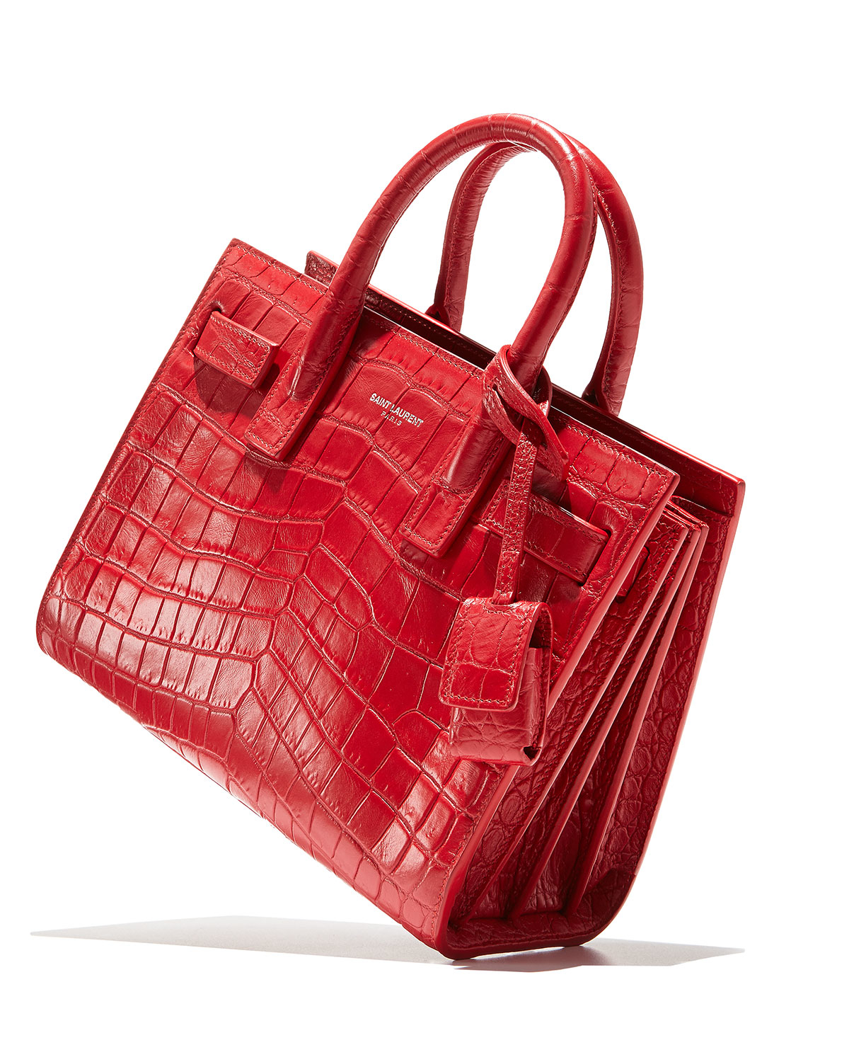 ysl bags uk - classic small sac de jour bag in red crocodile embossed leather
