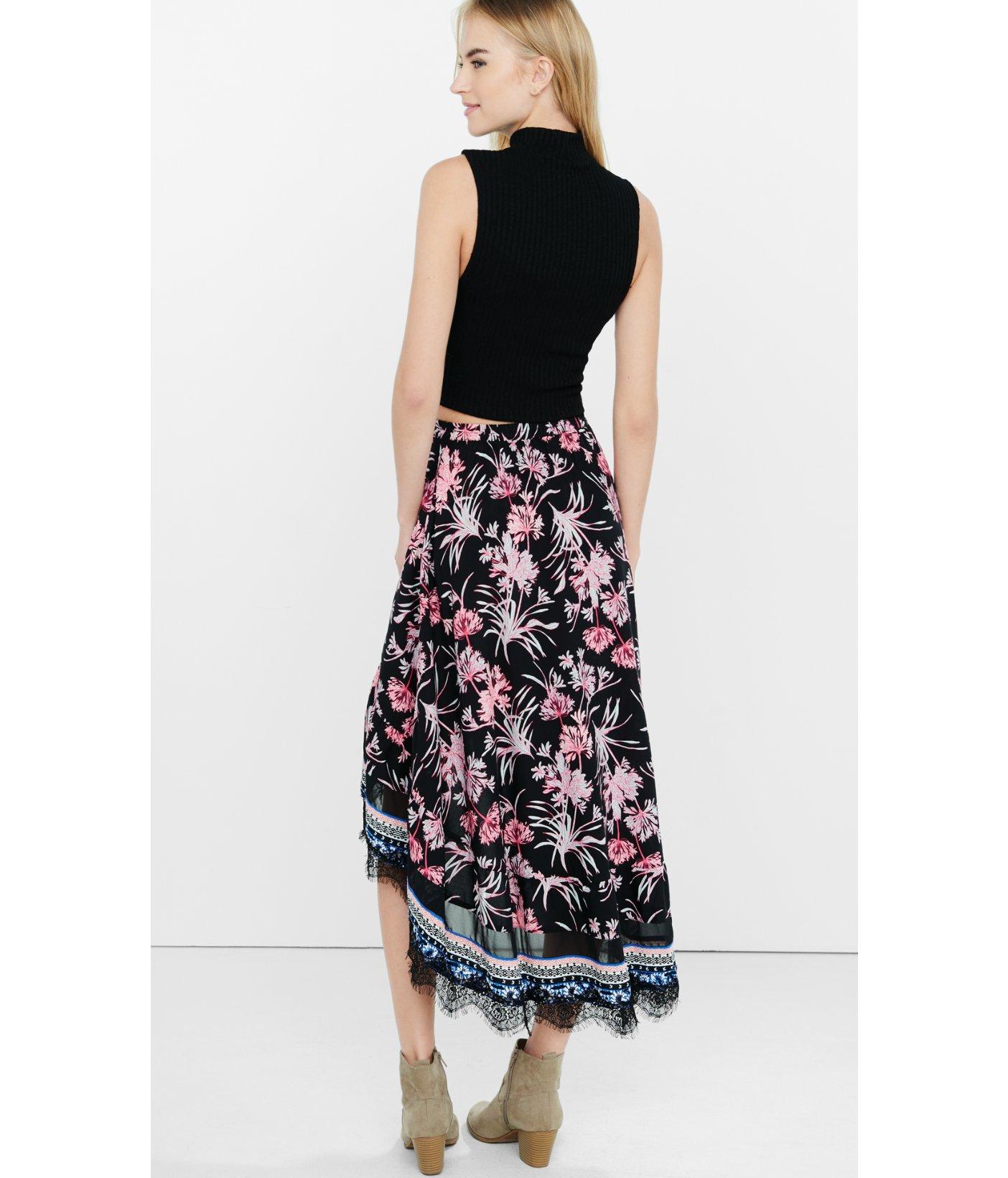 Floral High Waisted Maxi Skirt