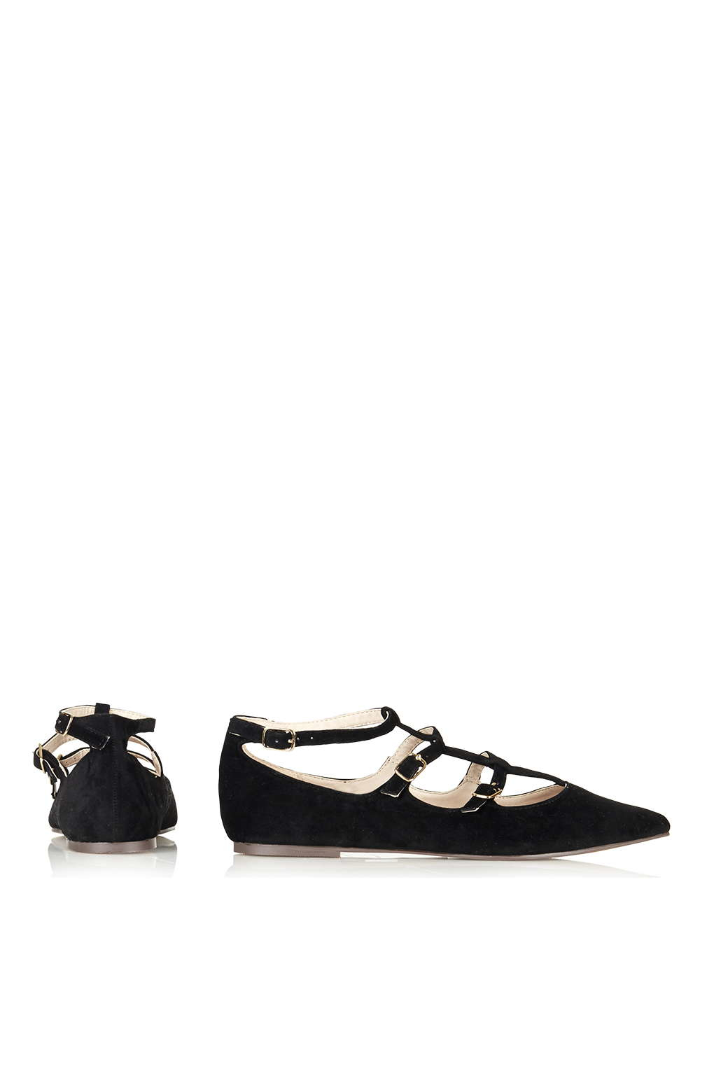 topshop freya three pointed shoes in black lyst