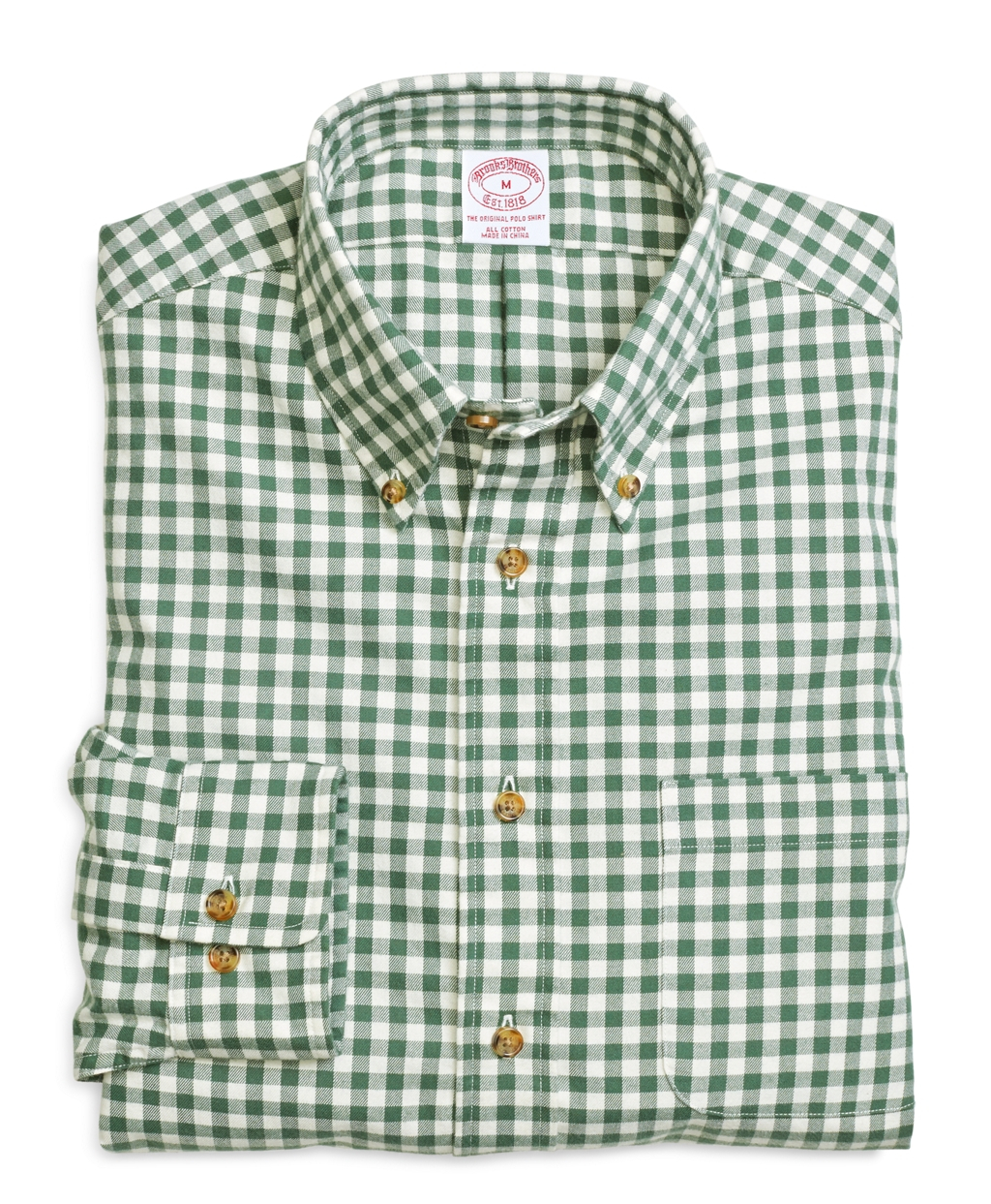 Brooks brothers regular fit flannel gingham sport shirt in Brooks brothers shirt size guide