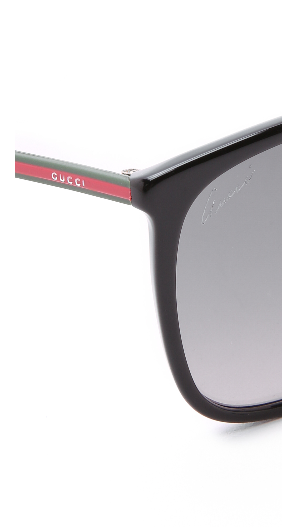 Gucci Thin Frame Sunglasses - Havana Red Green/Brown in Black - Lyst