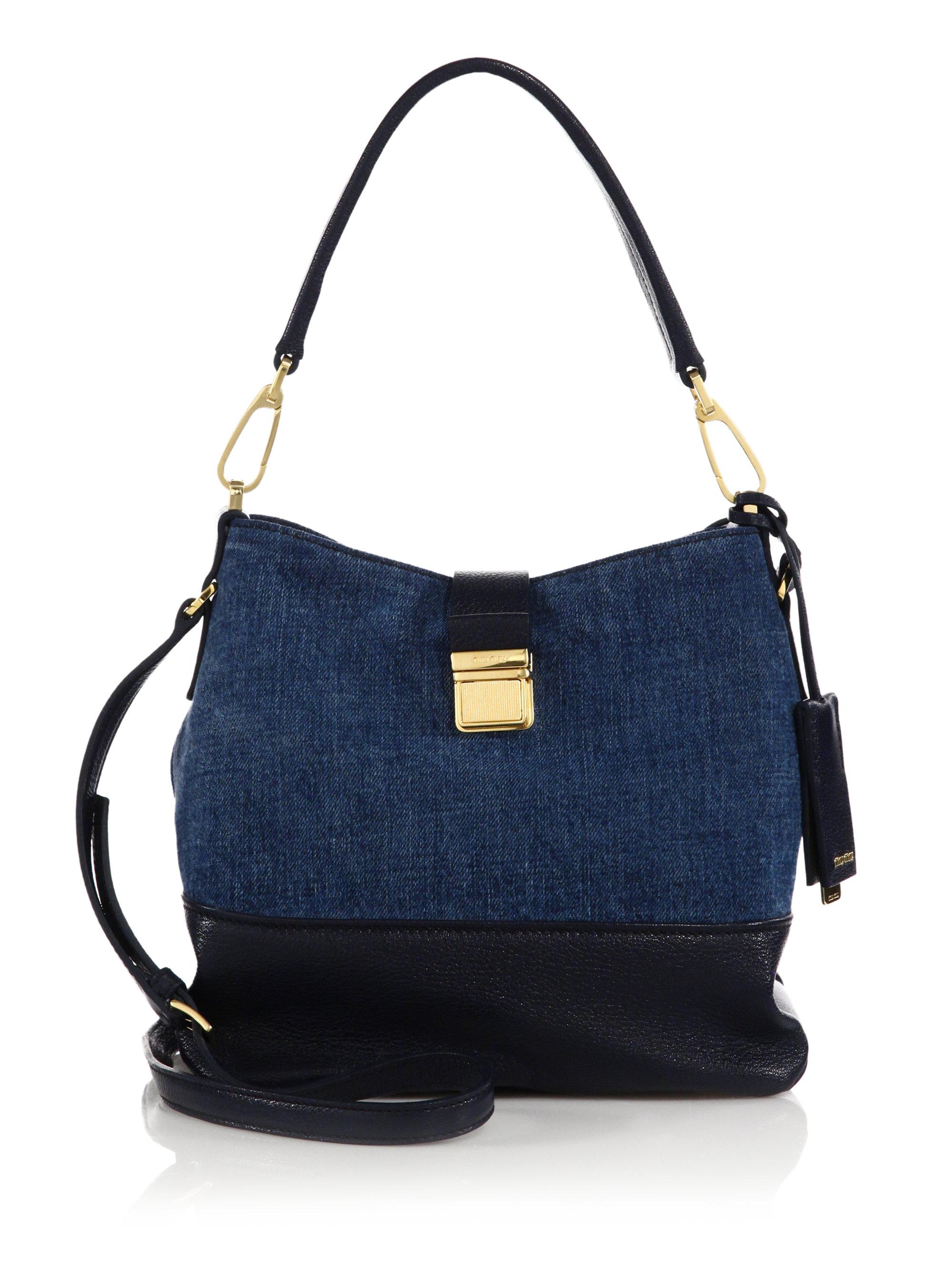 Miu miu Denim Hobo Bag in Blue | Lyst